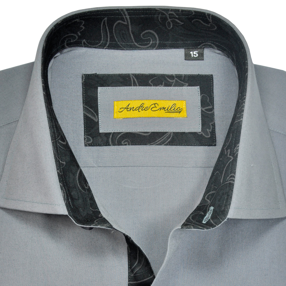 Men Grey Slim Fit Shirt 2