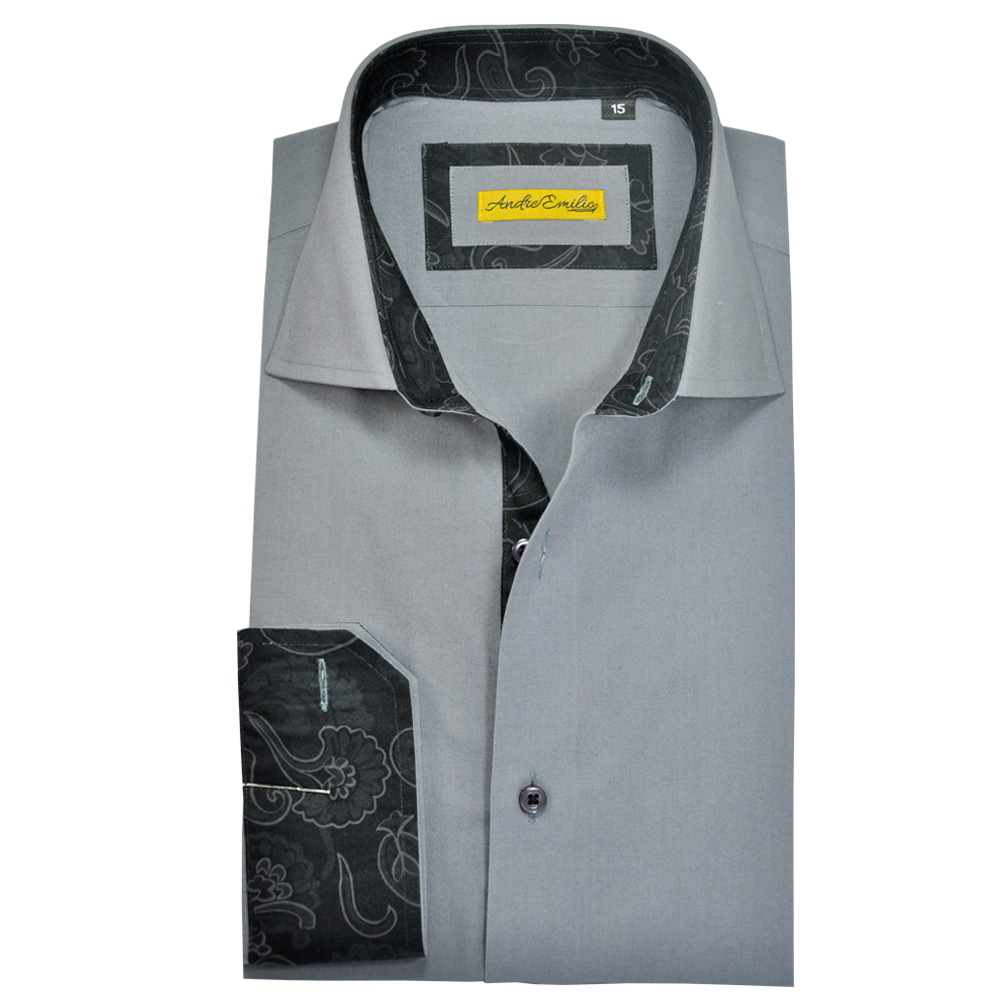 Men Grey Slim Fit Shirt 1