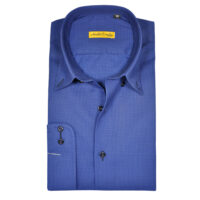 Royal Blue Formal Shirt With Self Dotted Texture 4