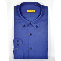 Royal Blue Formal Shirt With Self Dotted Texture 5