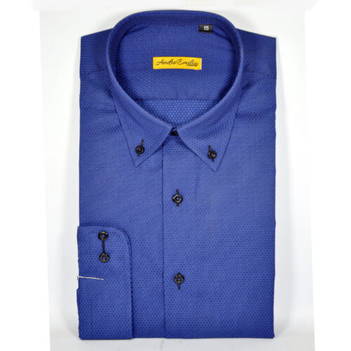 Royal Blue Formal Shirt With Self Dotted Texture 1