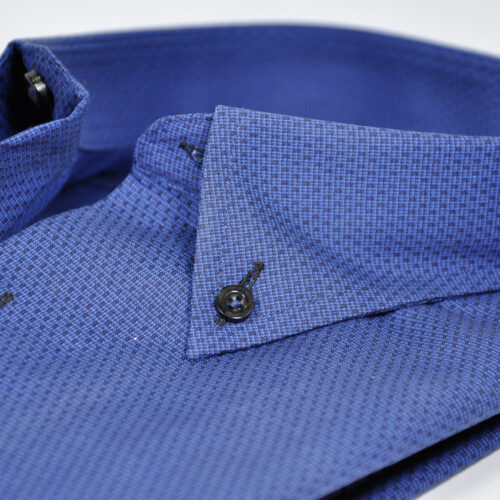 Royal Blue Formal Shirt With Self Dotted Texture 2