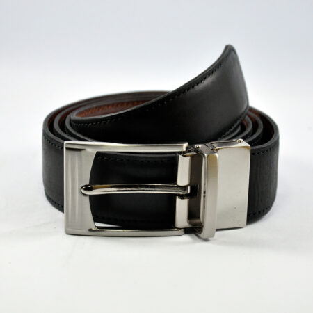 Leather Belt with Reversible Buckle