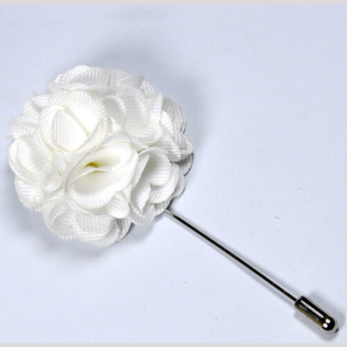White Flower Lapel Pin for Men