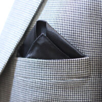 Black Reyone & Polyester Mix Hand Made Tie & Pocket Square 3