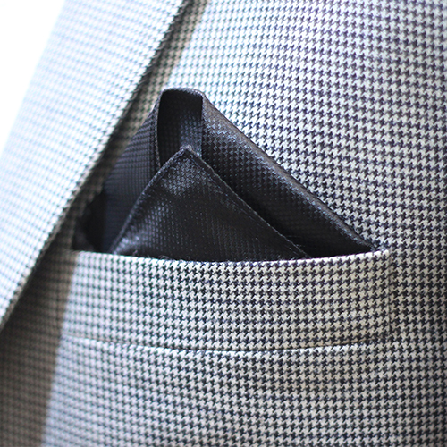 Black Reyone & Polyester Mix Hand Made Pocket Square