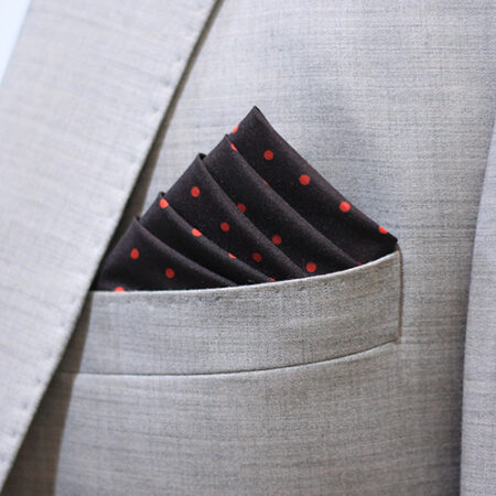 Hand Made Black & Red Dot Pocket Square