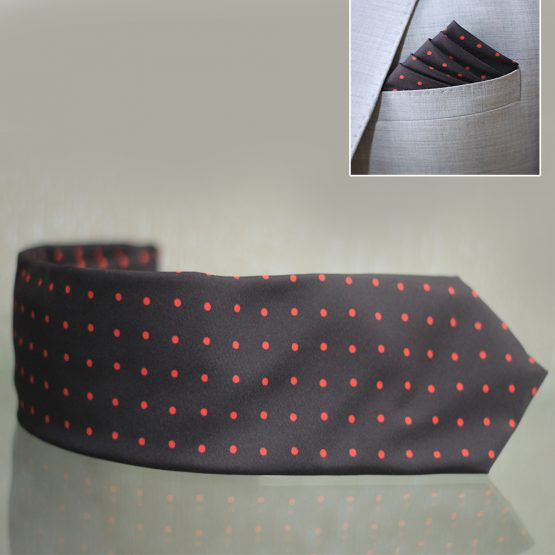 Hand Made Black & Red Dot Tie & Pocket Square