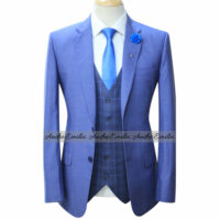 Top Notch Blue Men Suit with Window Glen Check Waistcoat and Pant 4