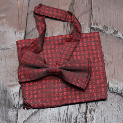 Buy Maroon Tiny Rose Print Bow Tie with Matching Pocket Square