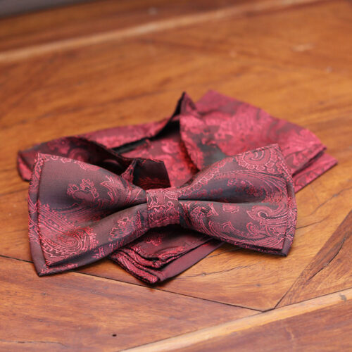 Black and Maroon Contrast Bow Tie with Matching Pocket Square