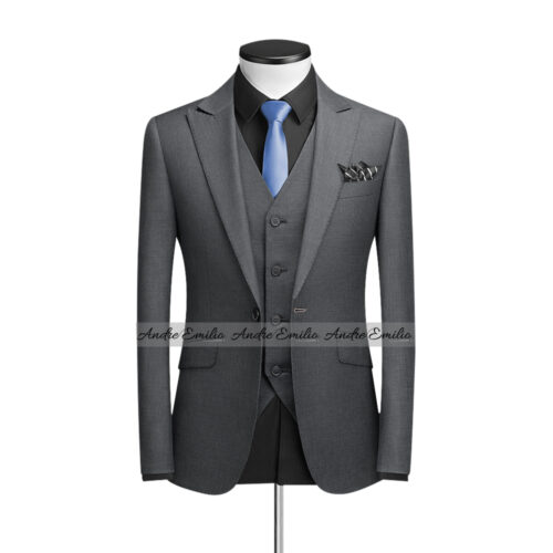 Buy Grey 3 Pcs Suit with V-Shape 5 Button Waistcoat