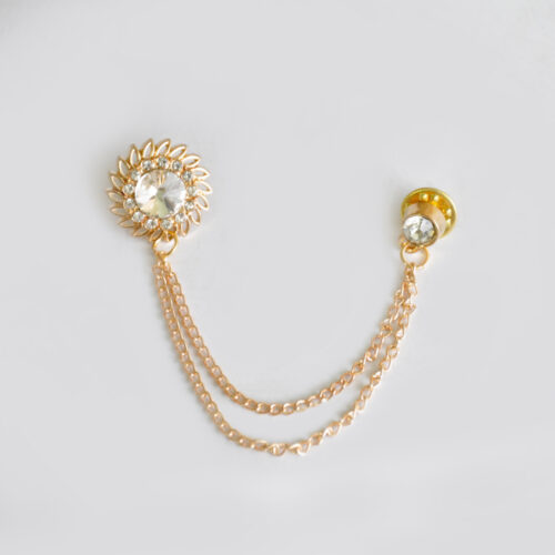 Buy Rose Gold Classic Shape Broach with Prisim Stone