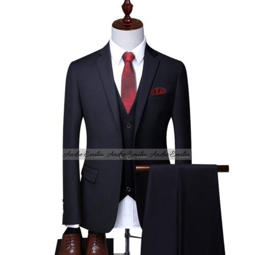 Ink Blue Customize 3 Pcs Suit with V-Shape Waistcoat