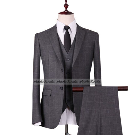 Grey Window Pane Check 3 Pcs Suit