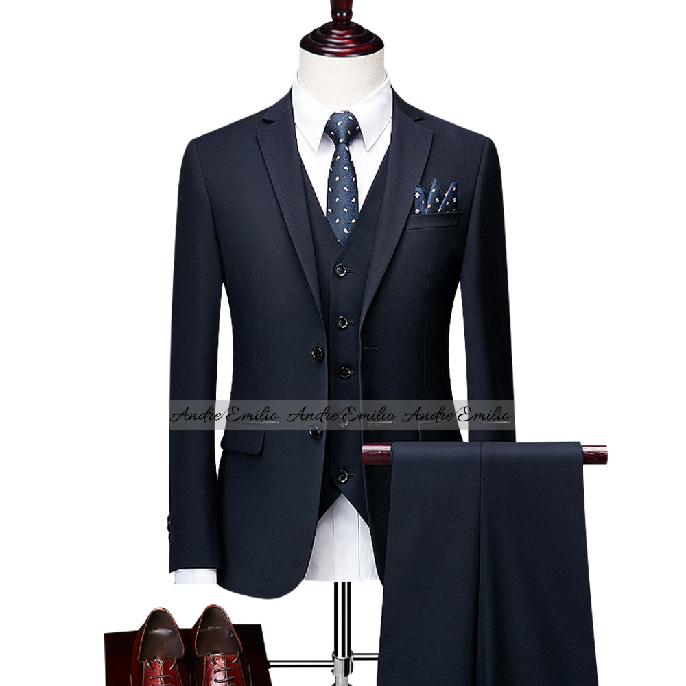 Customize Ink Blue Kings Suit with V-Shape Waistcoat