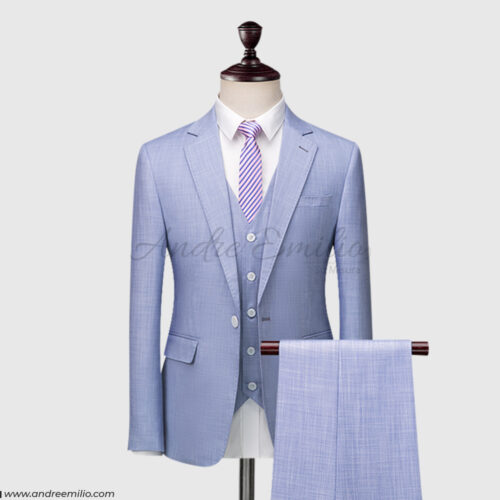 Classic Fit Wool Tailored Light Purplish 3 Piece Suit