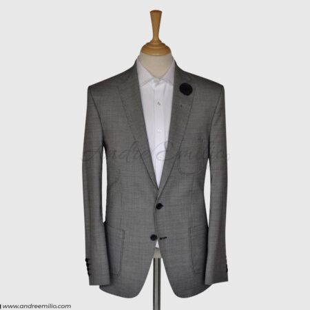 2 Piece Gray Self Texture Suit for Men