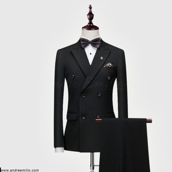 Black Double-Breasted 2 Piece Suit