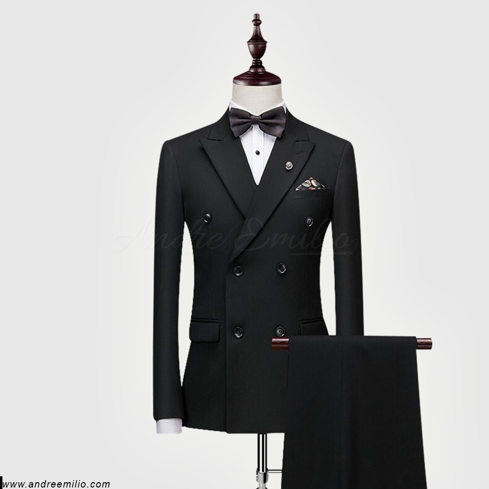 Poised Black Double Breasted Suit