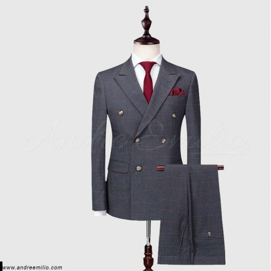 Grey Double-Breasted 2 Piece Suit
