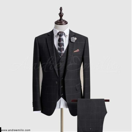 Windowpane Check Black 3 Piece Suit