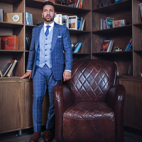 Blue Checked 3 Piece Suit