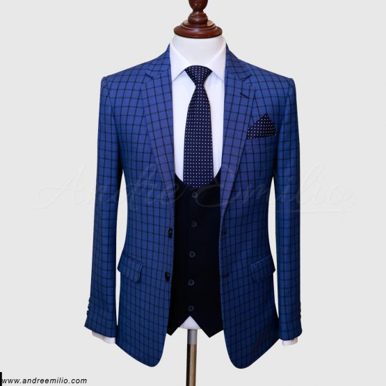 Blue Checked Three Piece Suit