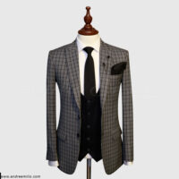 Grey Checked 3 Piece Suit 1