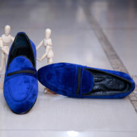 Navy Blue Suede Loafers 2