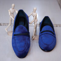 Navy Blue Suede Loafers 1