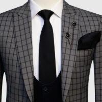 Grey Checked 3 Piece Suit 2