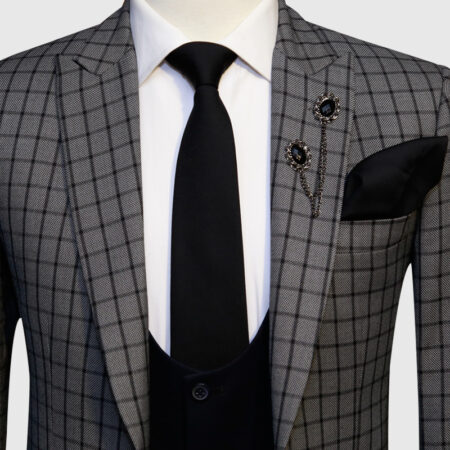 Grey Checked Three Piece Suit