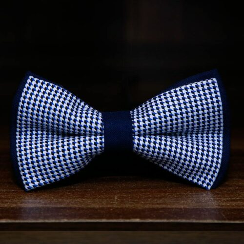 cube blue and black bow tie