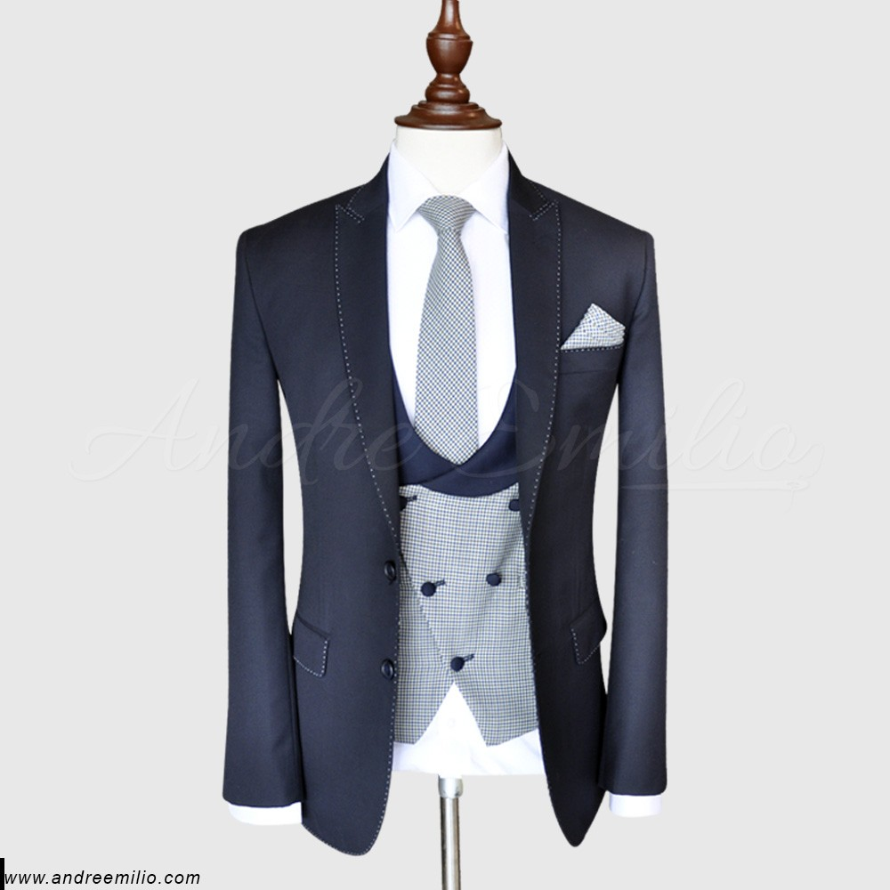 Slim-fit Bluish Grey 3 Piece Suit