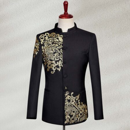 New Embroidered Black Suit