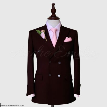 Maroon Double-Breasted 2 Piece Suit