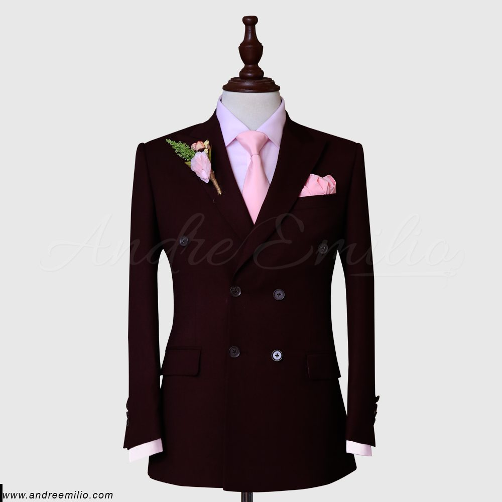maroon double breasted suit