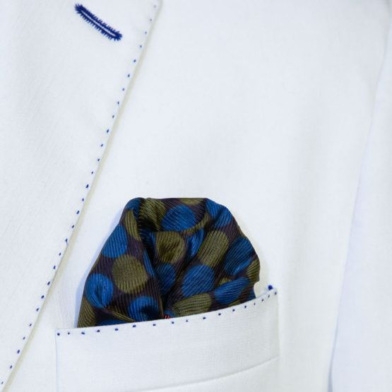 Olive Green & Blue Circle Pocket Square