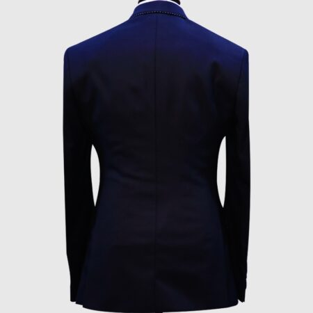 Navy Blue Pick Stitch 3 Piece Suit 1