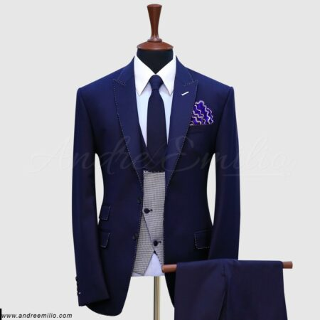 Navy Blue Pick Stitch 3 Piece Suit