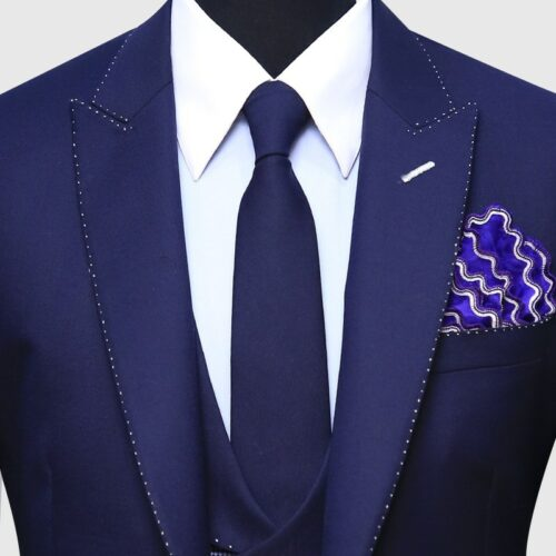 Navy Blue Pick Stitch 3 Piece Suit (5)