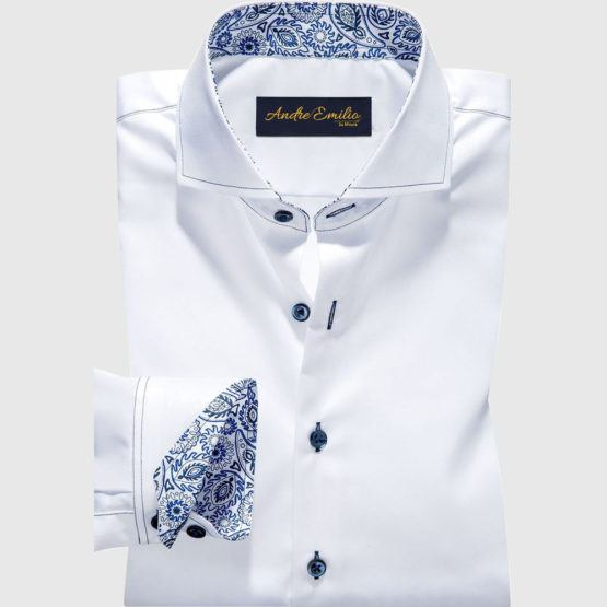White Shirt With Paisley Pattern Contrast
