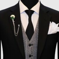 Regular Fit Black 3 Piece Suit 4