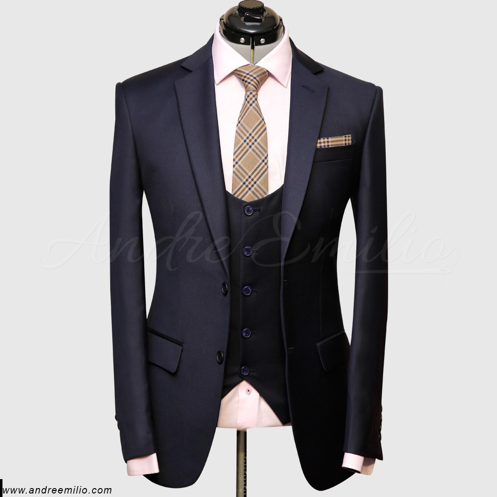 Modern-Fit Stretch Navy Blue 3 Piece Suit