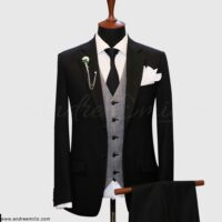 Regular Fit Black 3 Piece Suit 1