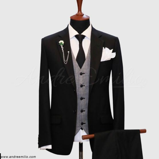 Regular Fit Black 3 Piece Suit