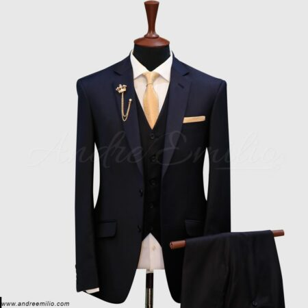 Solid Dark Blue 3 Piece Suit
