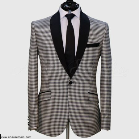 Off White Gingham Suit