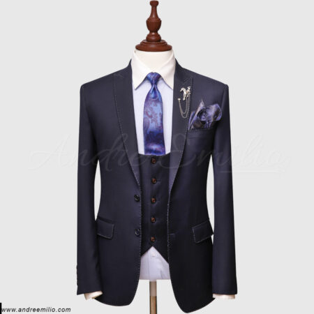 Solid Blue 3 Piece Suit